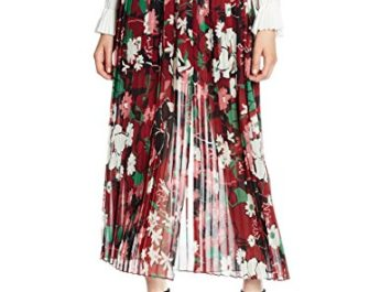 French Connection Damen Rock Bloomsbury Garden Sheer Skirt, Mehrfarbig-Multicoloured (Berry Red Multi), 40